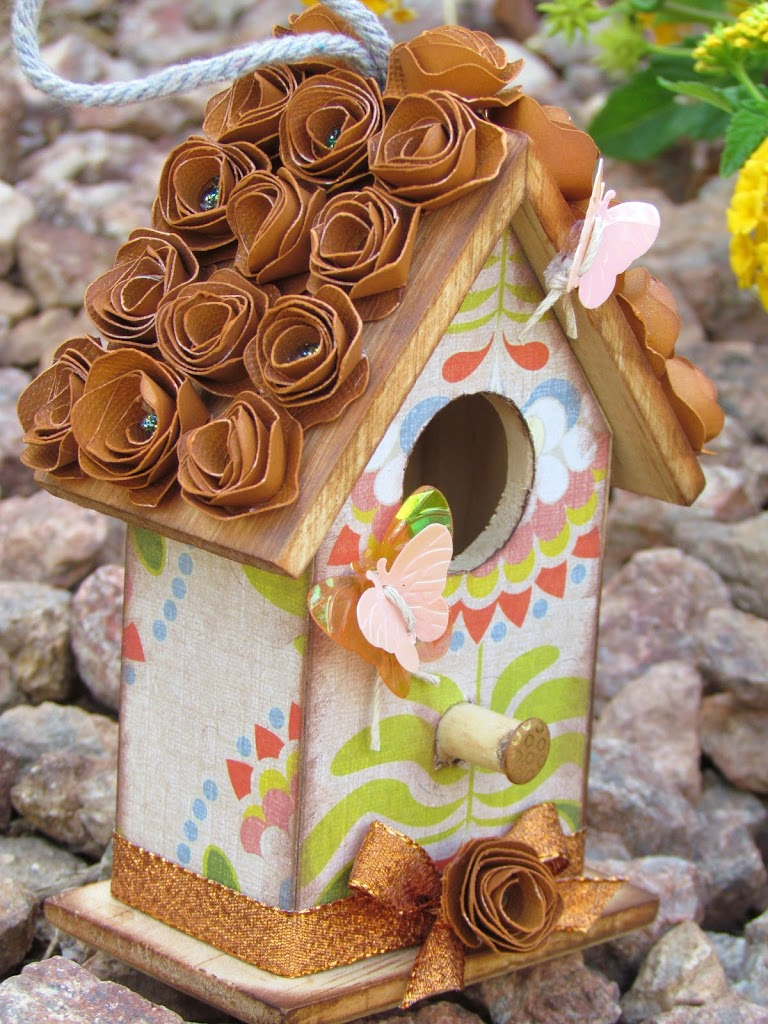 Wood Butterfly Birdhouse decoupaged with patterned paper and rolled flowers