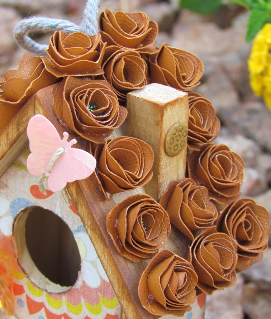 Butterfly Birdhouse made with rolled flowers