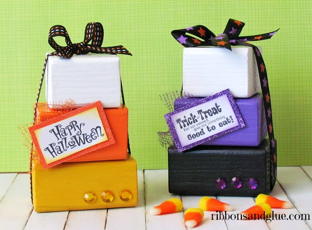 Candy Corn Wood Blocks are an easy craft to make for any Halloween candy lover.