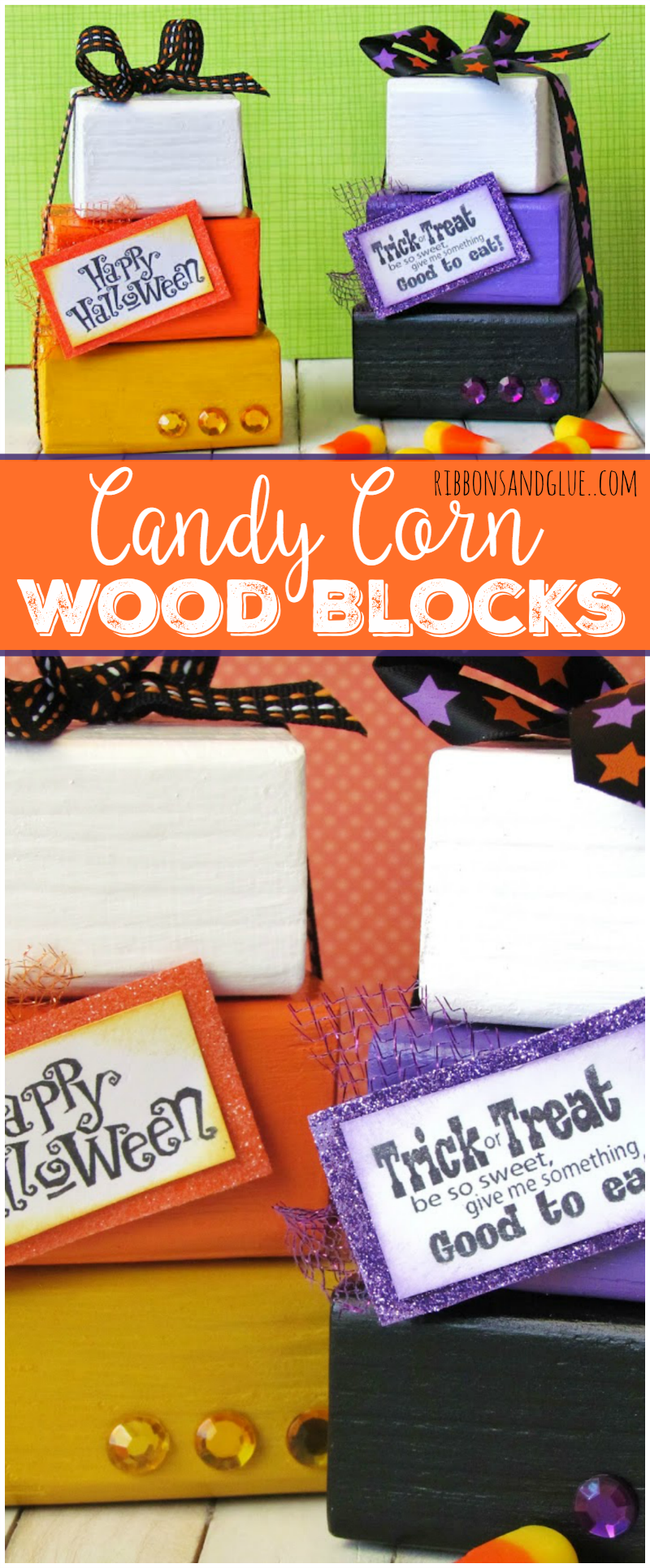 Candy Corn Wood Blocks are an easy craft to make for any Halloween candy lover. All you need is stacking wood blocks, paint and hot glue.