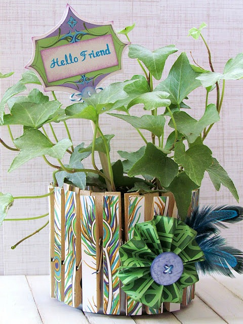 Easy Clothespin planter made with Mod Podge and patterned paper