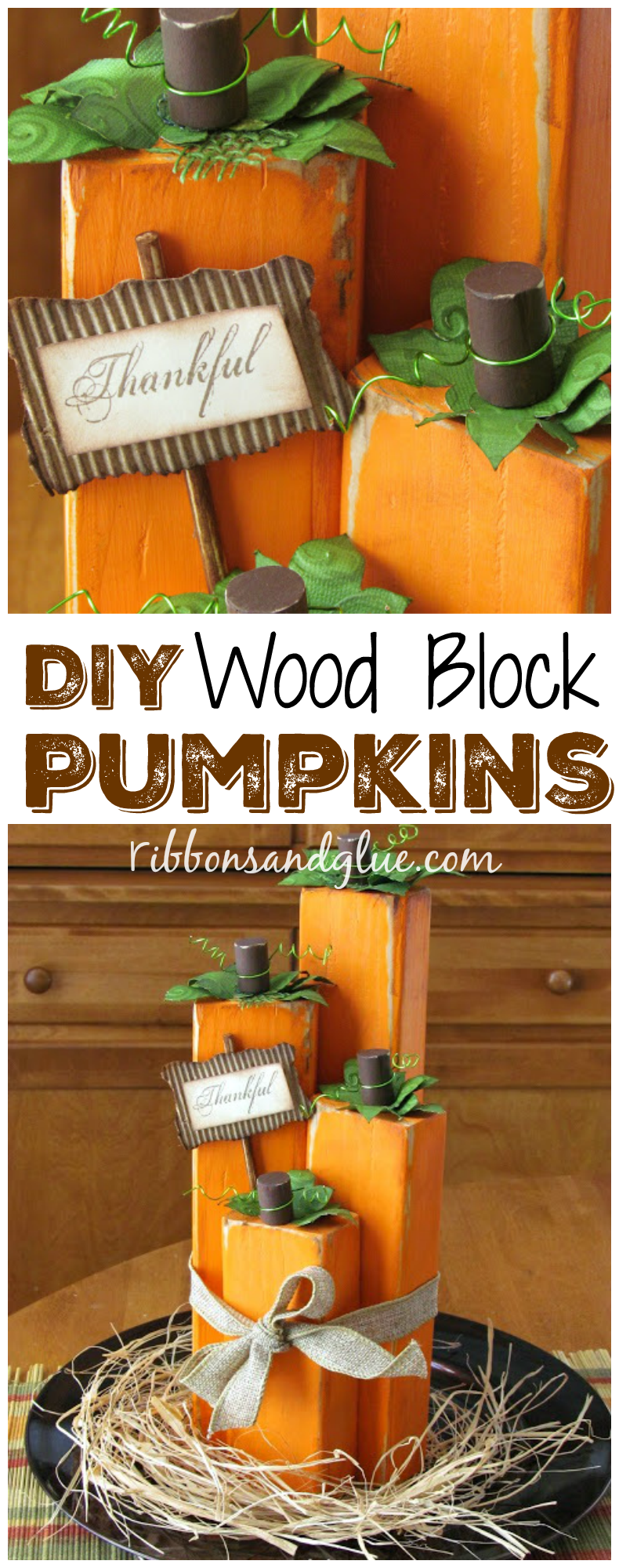 How to make Wood Block Pumpkins