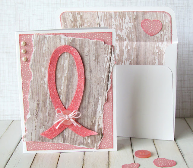 Think Pink Card to support breast cancer made with Cricut