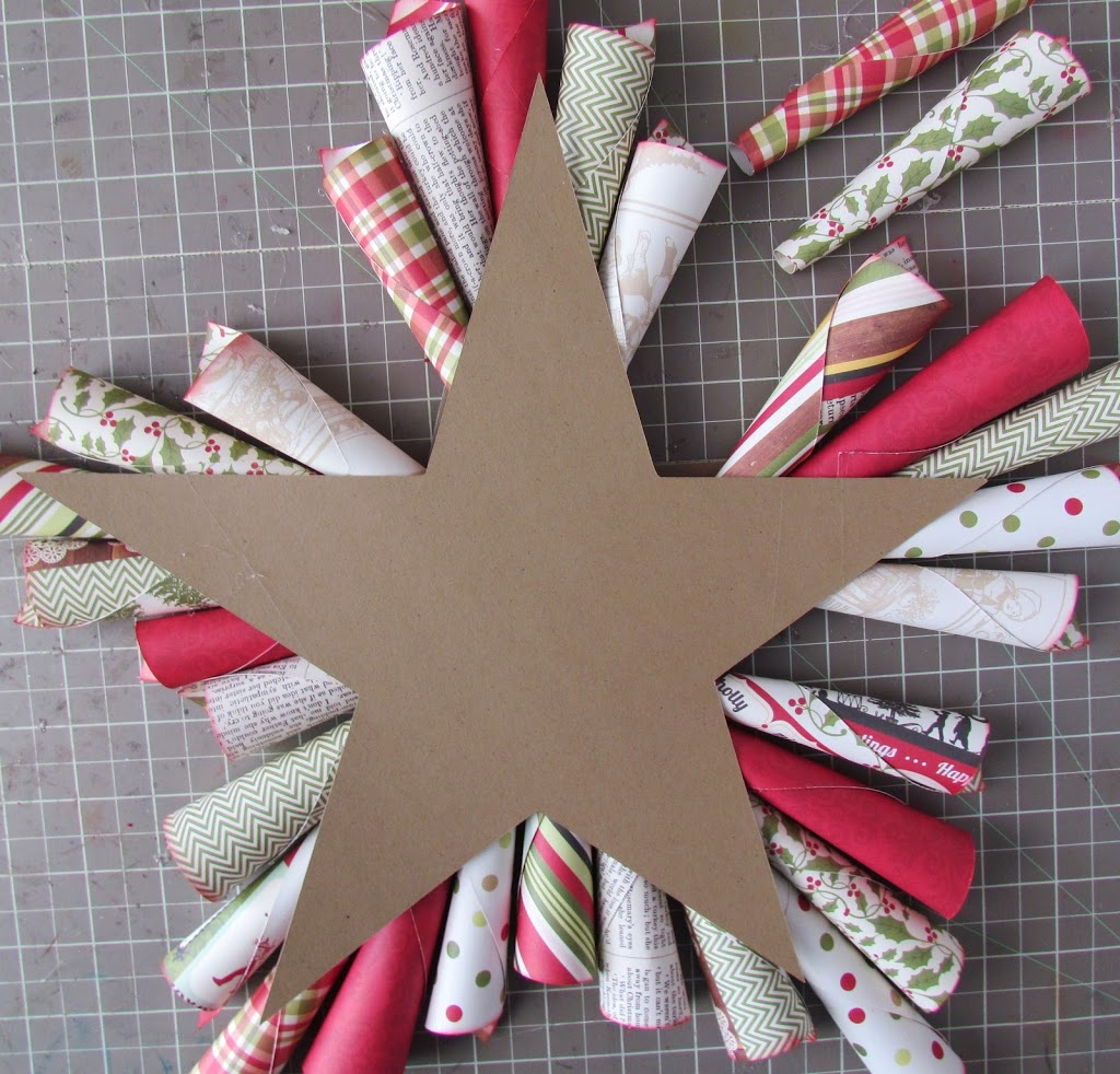 Rolled paper cones to make a Christmas Star Wreath
