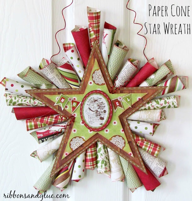 How to make a Paper Cone Star Wreath for Christmas