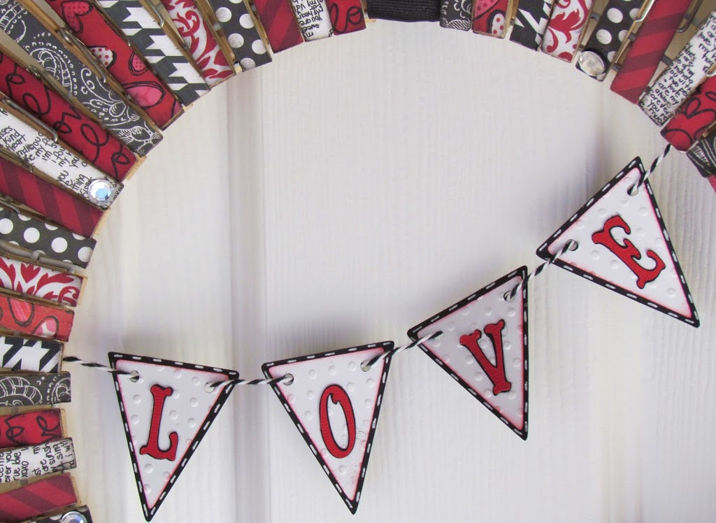 Valentines Clothespin Wreath