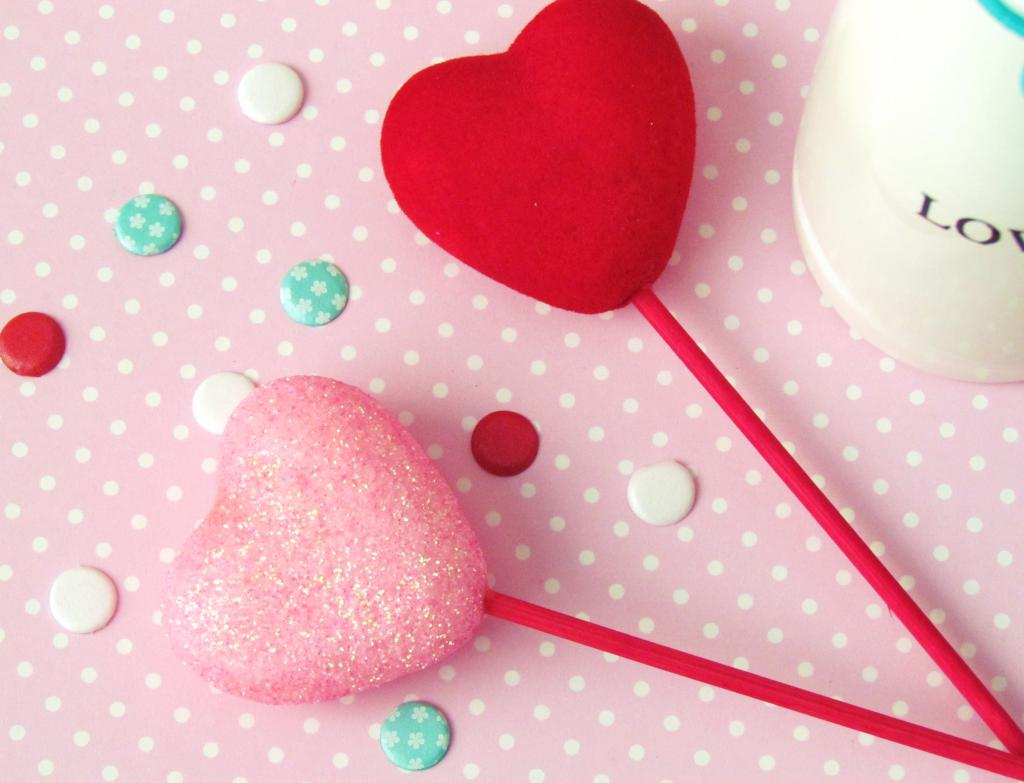 Valentine Hearts on a Stick embellished with CANDI dots