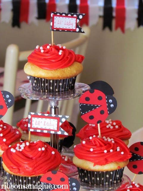 Ladybug Birthday Cupcake Toppers
