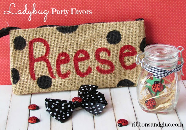 Ladybug Party Favors.  Personalized bag and hair bow