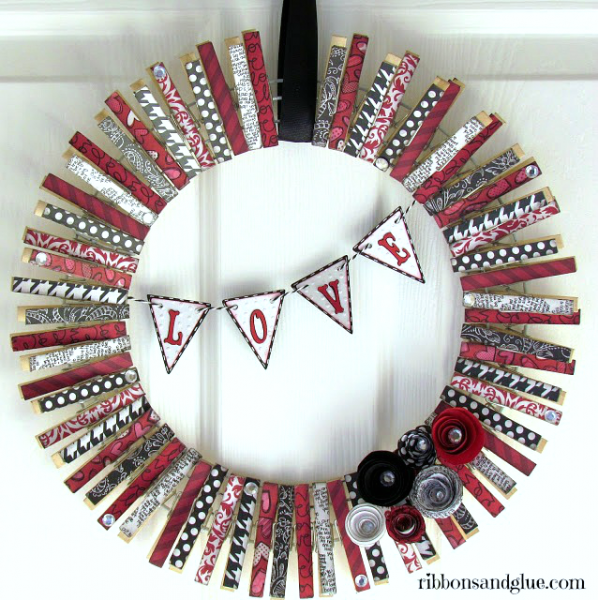 Valentines Clothespin Wreath made from patterend paper decopagued on to clothespins