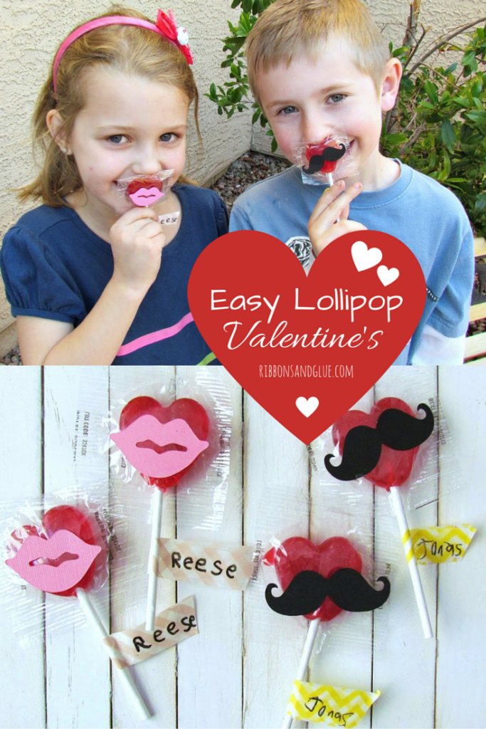 Easy Kids Lollipop Valentine's. Adhere die cut mustacke and lips on to lillippos and have kids ewirte name aon a peice of Wahi tape, Quick and Easy Valentine's Kids Craft idea