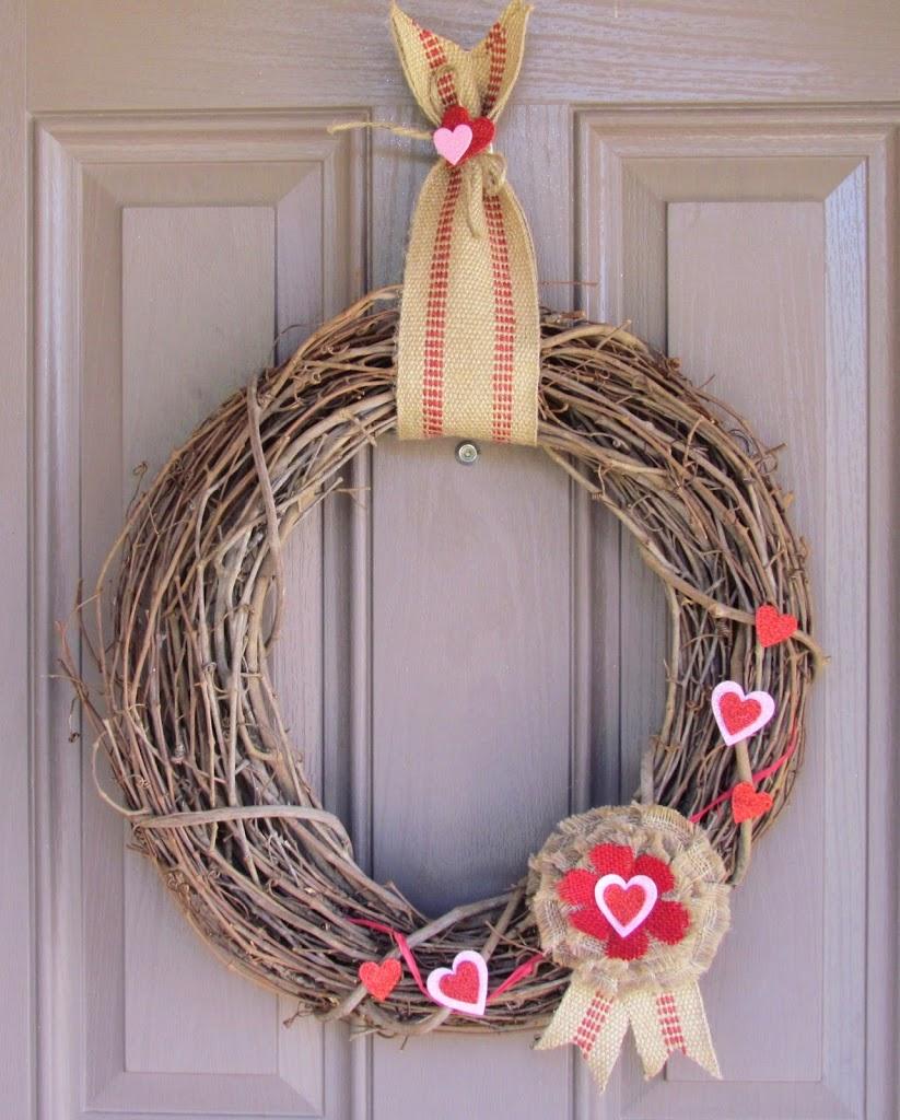 Jute Webbing Valentine's Wreath