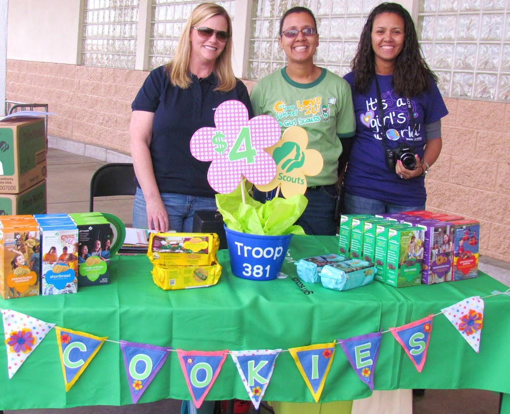 Girl Scout Cookie Booth Decorations. Table centerpiece and felt banner in Daisy Scout Colors.