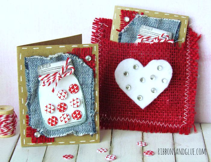 Mini 3 x 3 Valentine's Cards made with Kraft paper, burlap and a stamped Mason Jar. So Cute!