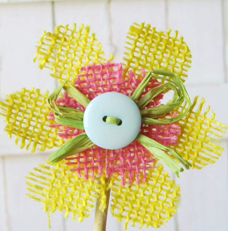 Burlap and Button flower made with Tim Holtz Tattered Flower Die