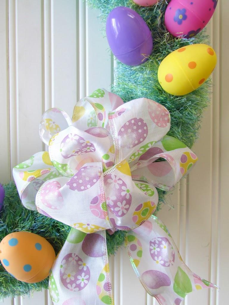 Spring Fun Fur Easter Wreath wrapped with Fun Fur yarn.