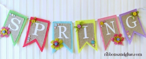 Spring Burlap and Button banner embellished with Burlap flowers and buttons. So pretty! and easy!!
