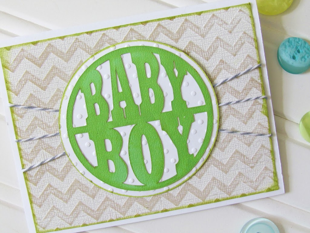 Baby Boy Card with Chevron Embossing