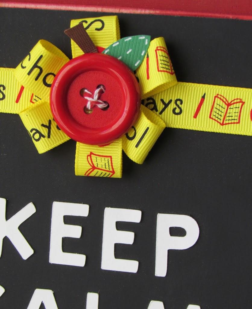 Keep Calm and Teach On Sign. Cute Teacher Ribbon Bow with a Apple Button