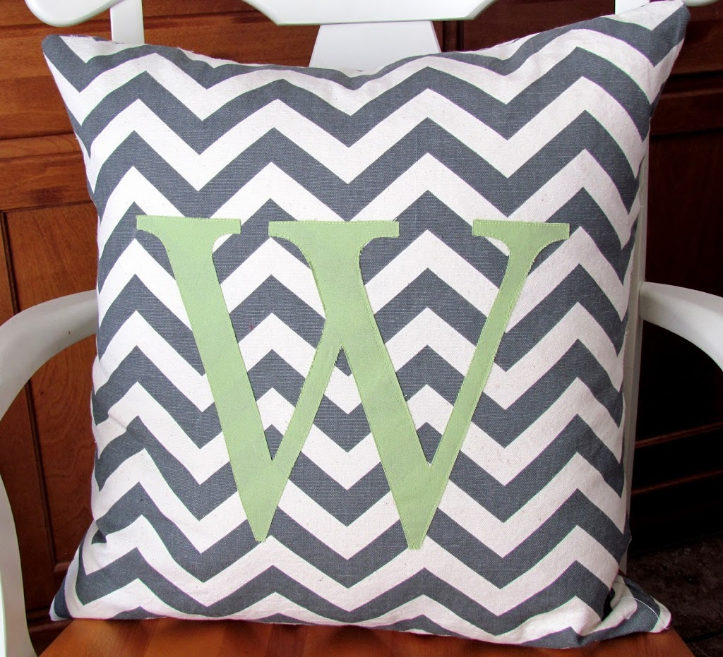 DIY Monogrammed Pillow made with Chevron Fabric