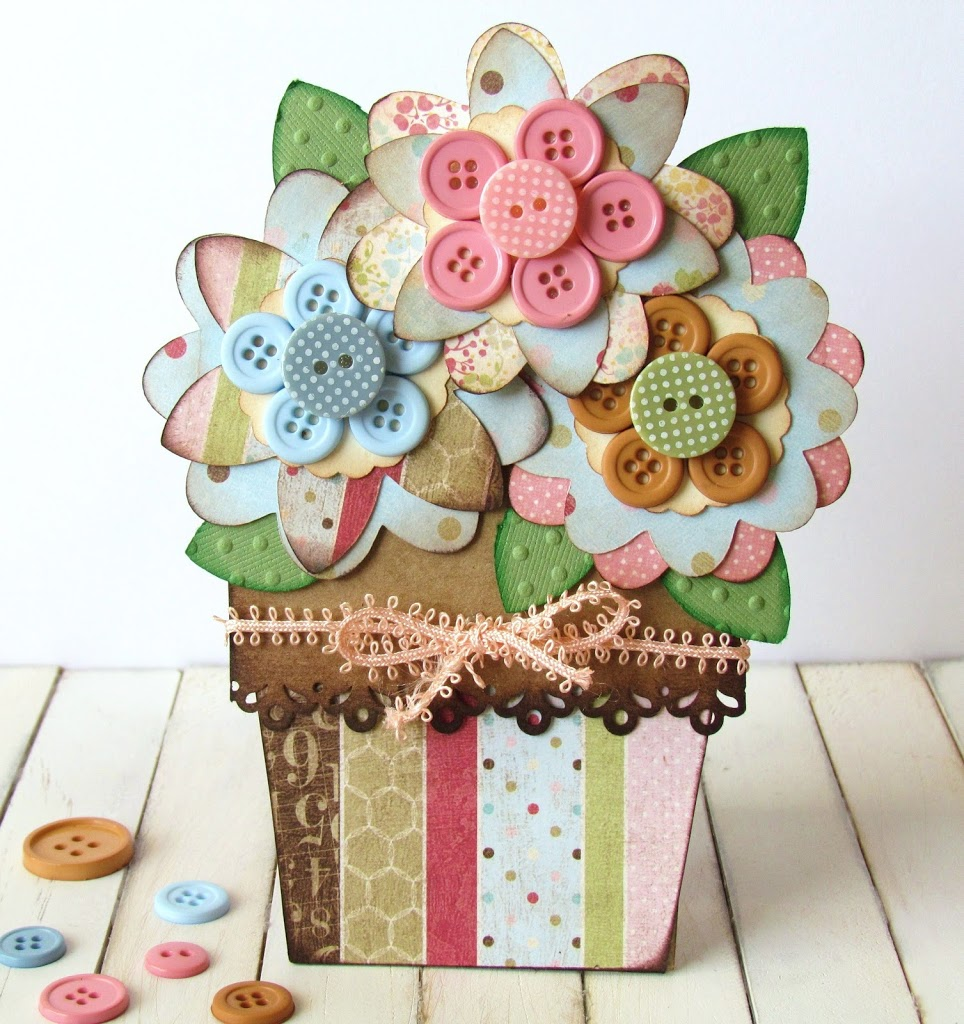 Button Flower Pot Card