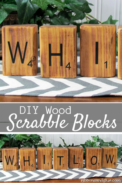 DIY Wood Scrabble Blocks personalized with vinyl lettering