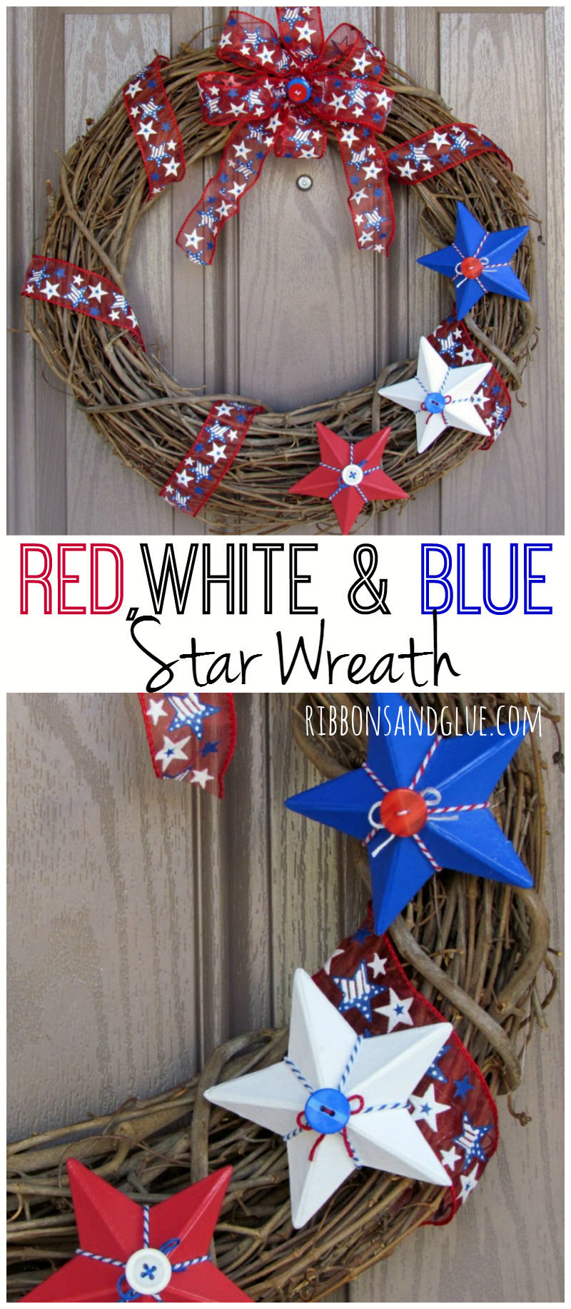Red White Blue Star Wreath