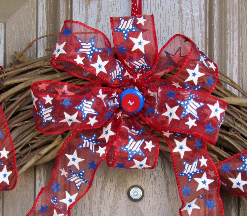 Patriotic Button Bow in a Star Wreath