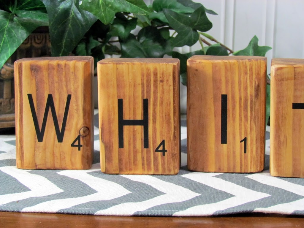 Personalized DIY Scrabble Blocks made out of blocks of wood and Silhouette . Great gift idea for any Scrabble lover!