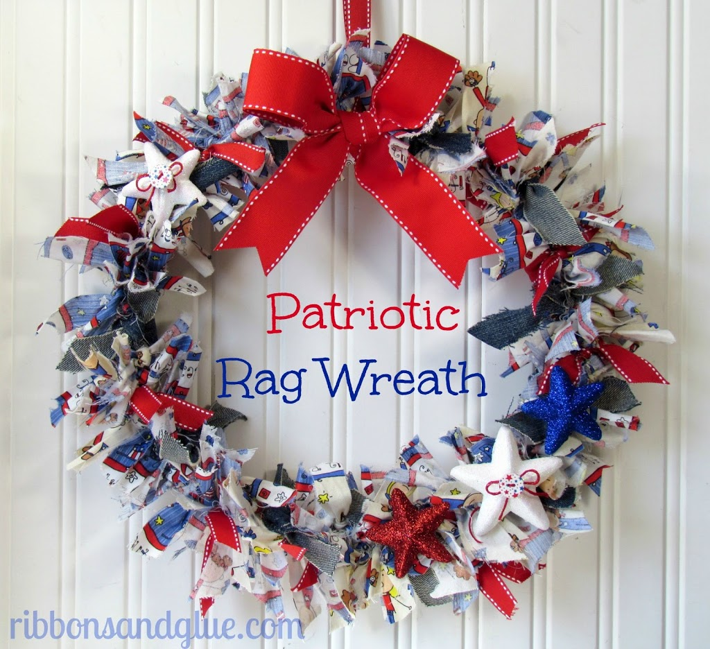 How to make a DIY Patriotic Rag Wreath, All you need is a wreath form and strips of fabric. No sewing or hot glue needed!