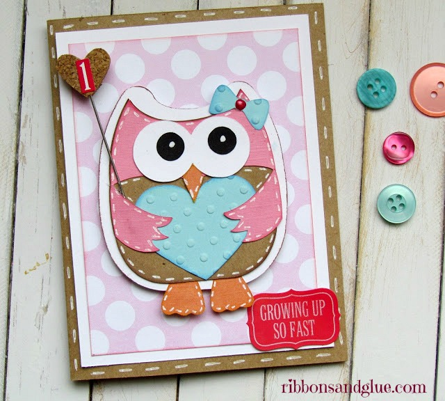 Baby Girl Owl Card made with Silhouette