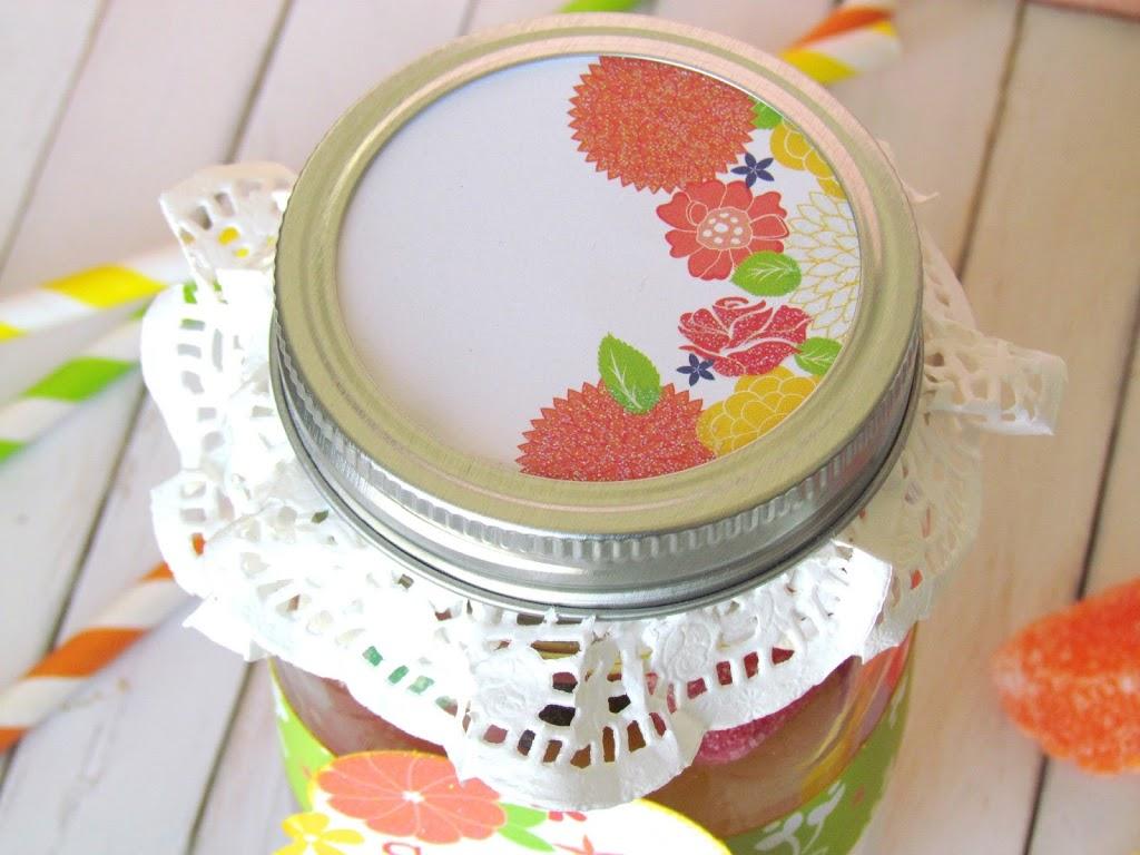 Sweet Tart Jar. Paper and Doiley on a Mason Jar lid