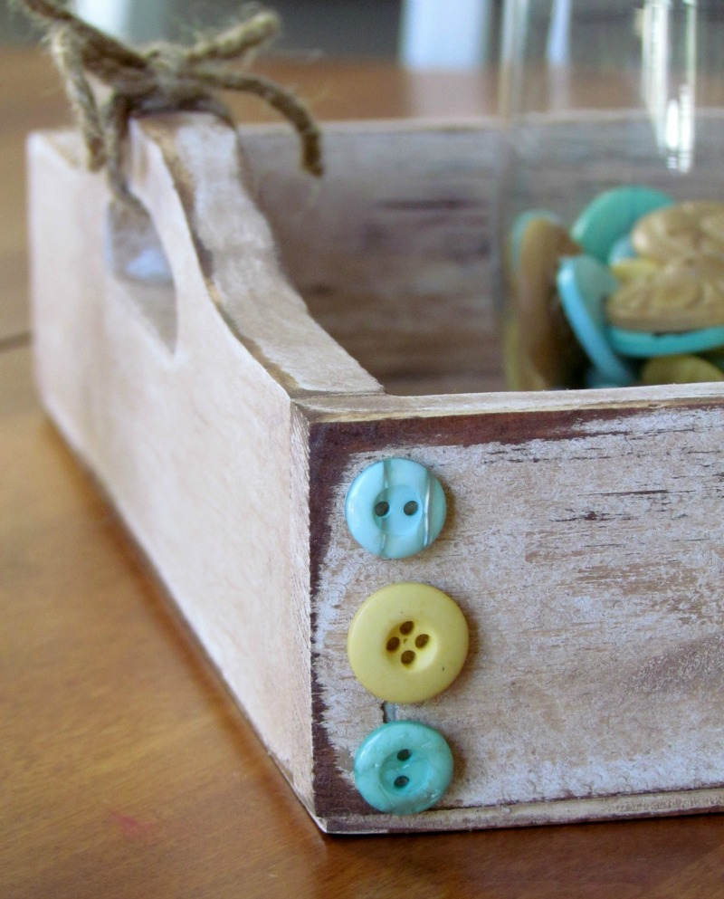 DIY Distressed Wood Serving Tray embellished with buttons