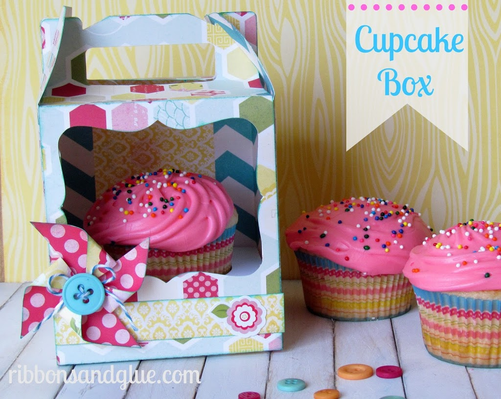 Every Day Cupcake Box Holder made with Silhouette and scrapbooking paper is just perfect to brighten anyone's day!