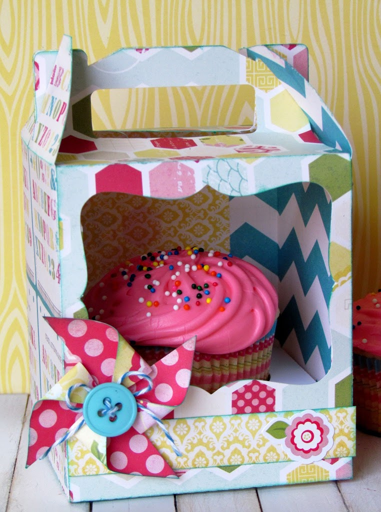 Every Day Cupcake Box made with Silhouette and scrapbooking paper is just perfect to brighten anyone's day!