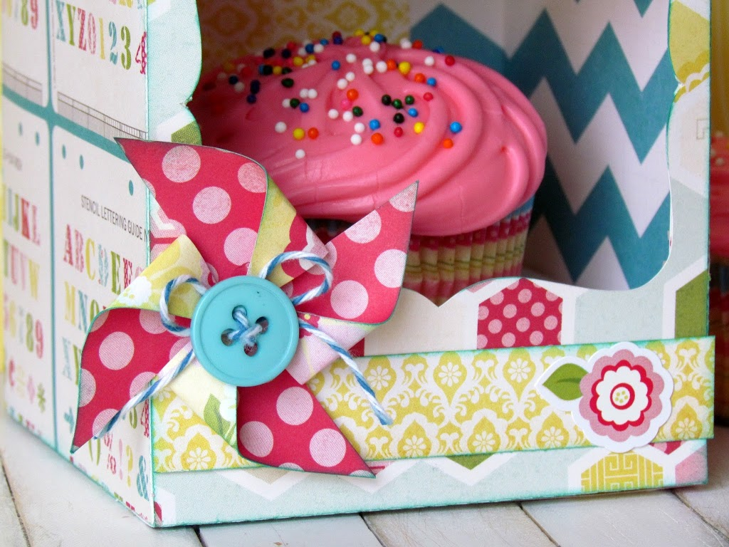 Cupcake Box Holder made with Silhouette and scrapbooking paper is just perfect to brighten anyone's day!