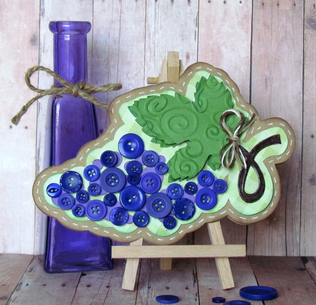 Grape card made with pretty purple buttons and SIlhouette