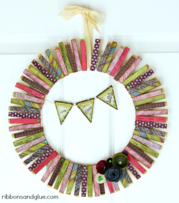 Whimsical Clothespin Wreath