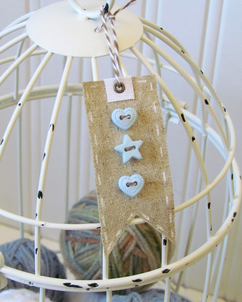 Burlap Button Tag