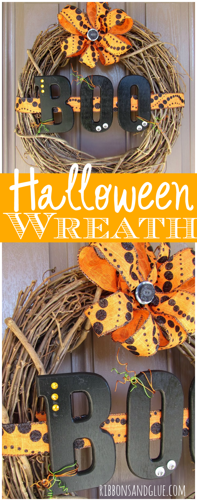 Halloween Boo Wreath made from a grapevine wreath and Halloween ribbon. Painted wood BOO letters make it spooky cute too!