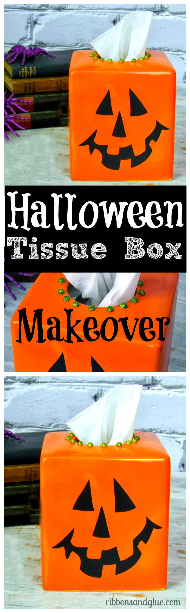 Give a pain ceramic tissue box cover a Halloween makeover with just spray paint and black vinyl .  Easy Halloween decoration idea.