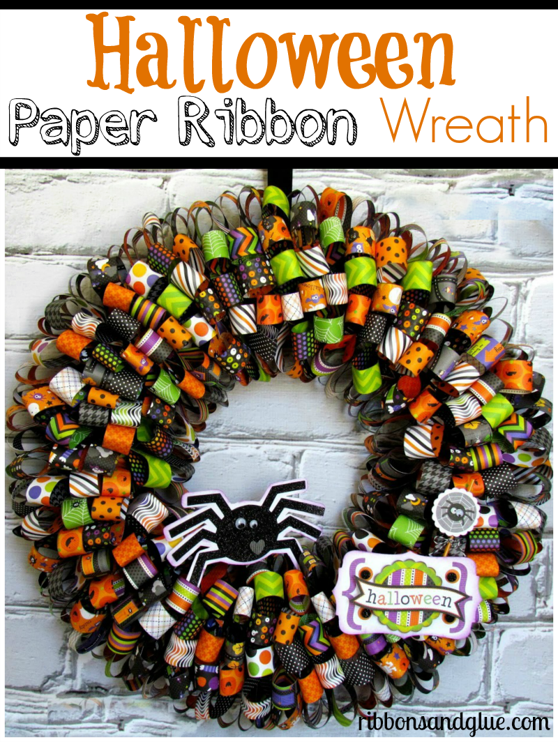 All you need to make this Halloween Paper Ribbon Wreath is Halloween paper hot glue and a wreath form.