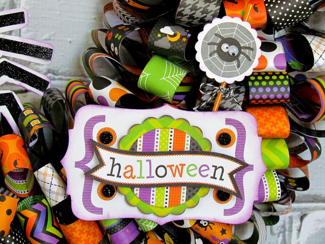 Paper Ribbon Wreath made with Silhouette and Doodlebug Halloween Parade