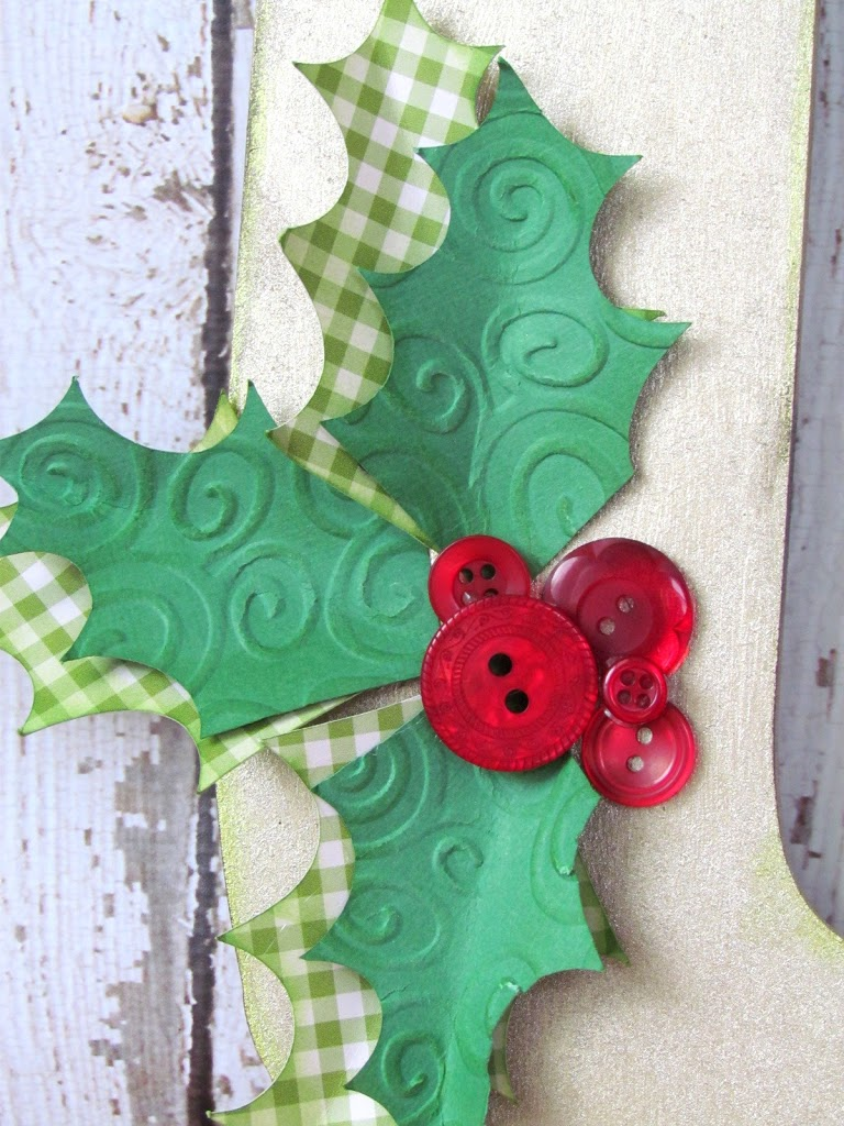 DIY Christmas Monogram with Holly Buttons and Leaves