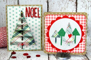 Christmas Tree Cards made out of Kraft Paper and Silhouette. Love the branch idea on the one!