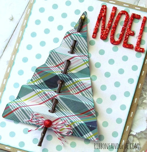 Add a tree twig through punch holes to make a rustic Christmas Card