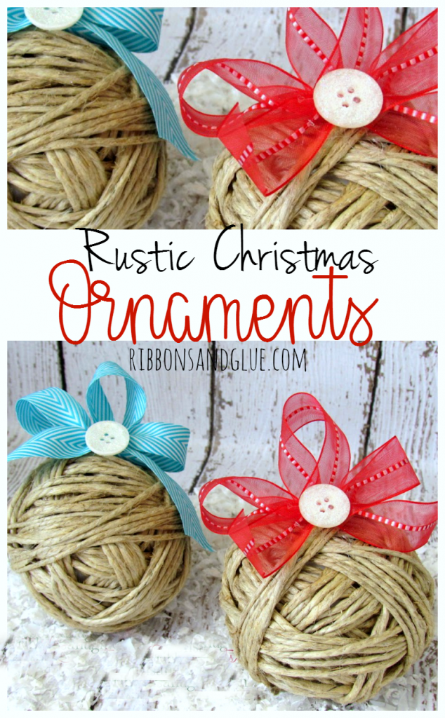 DIY Rustic Christmas Ornaments made from Styrofoam balls wrapped with hemp cord and embellished with ribbons and buttons