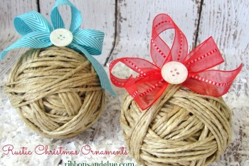 DIY Rustic Twine Ornaments
