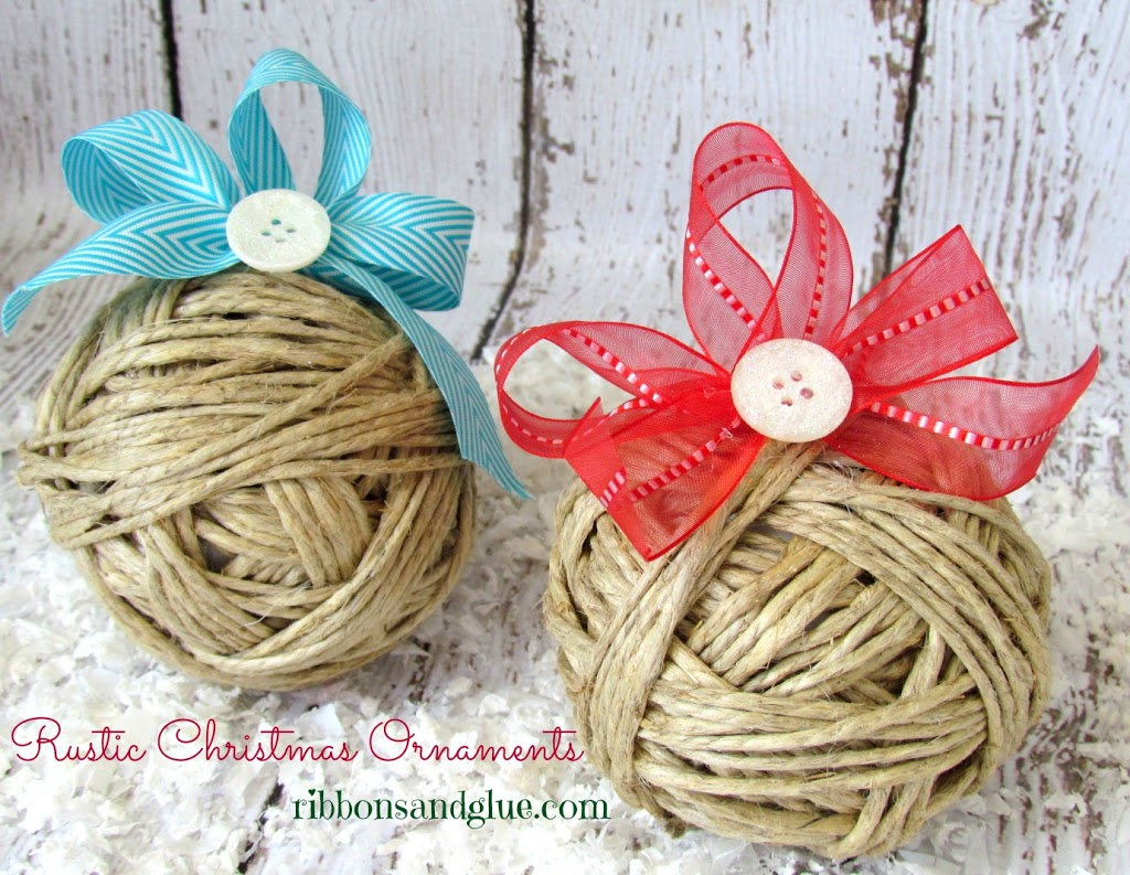 How to make DIY Rustic Twine Ornaments