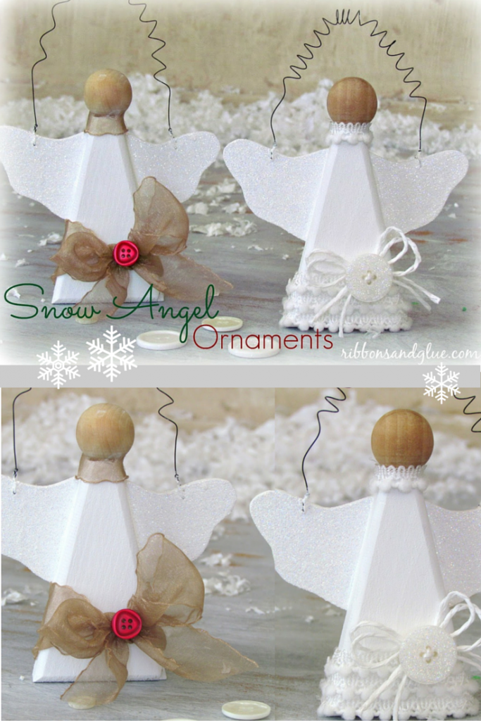 DiY Snow Angel Ornaments Easy Christmas Craft Made From Natural Wood Angle Painted With Glitter